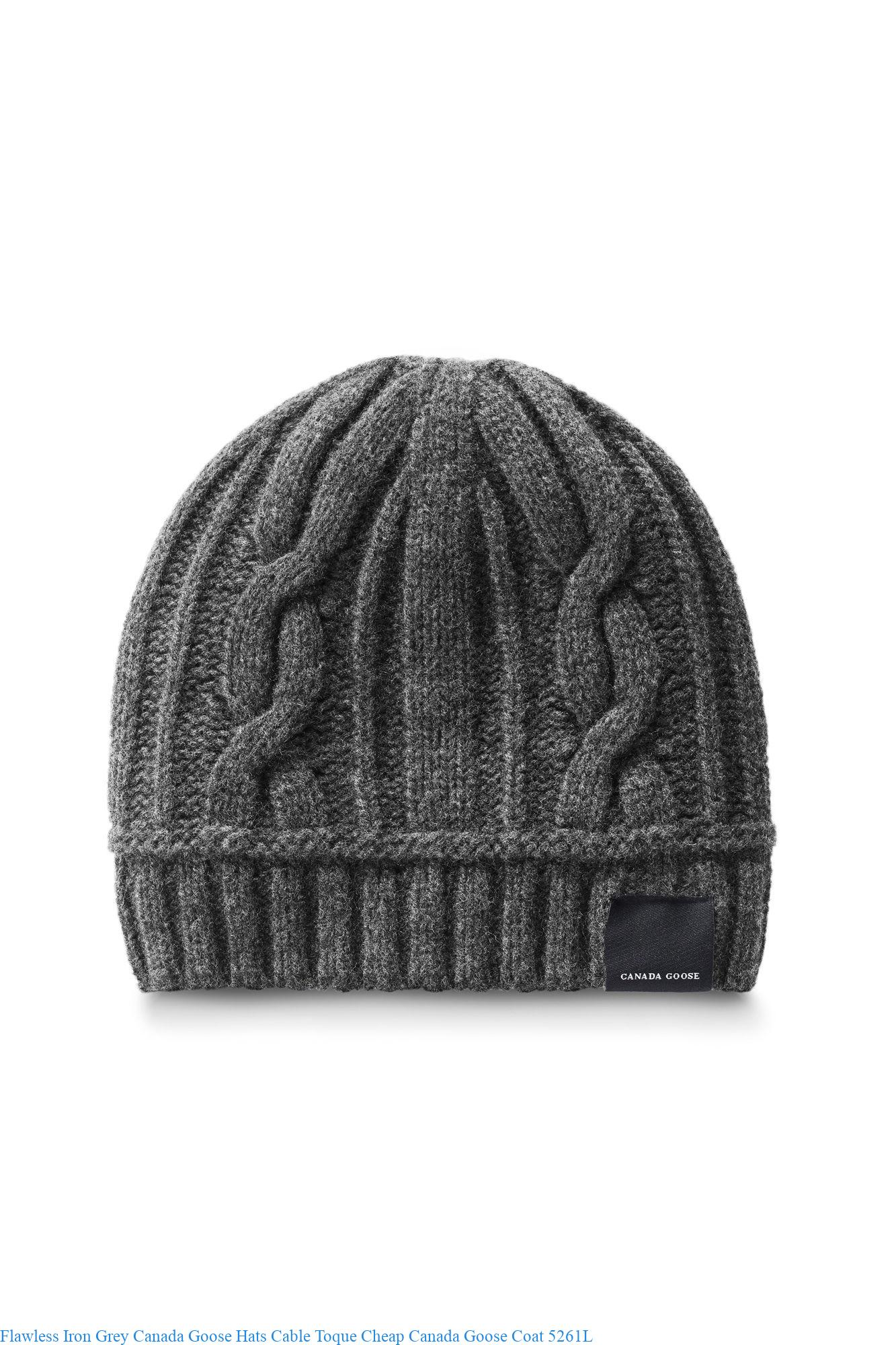 Flawless Iron Grey Canada Goose Hats Cable Toque Cheap Canada Goose Coat  5261L 12bed422e19a