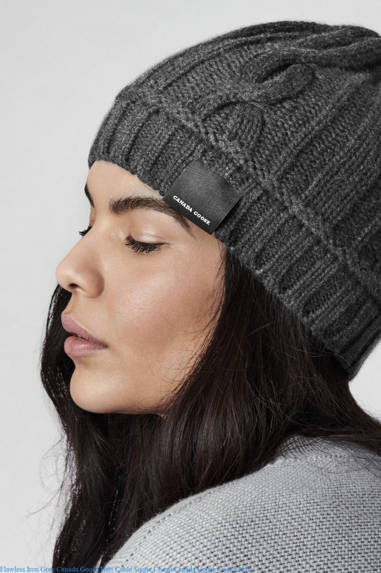 fd6540887a3 Flawless Iron Grey Canada Goose Hats Cable Toque Cheap Canada Goose Coat  5261L